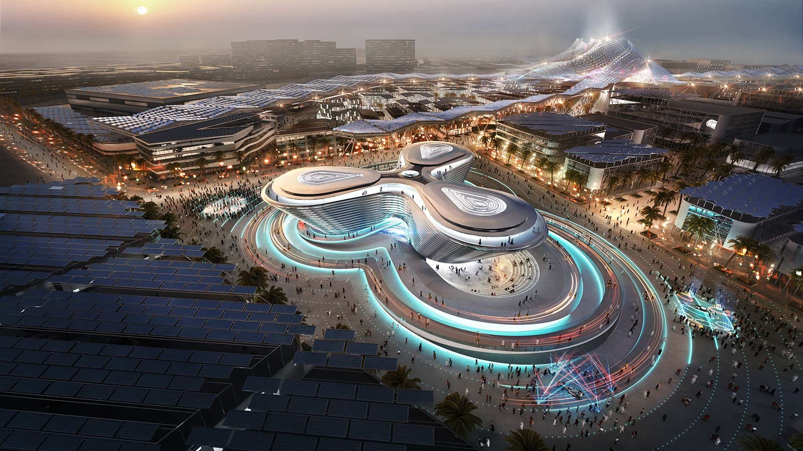 Aerial shot of the park at Expo 2020 Dubai